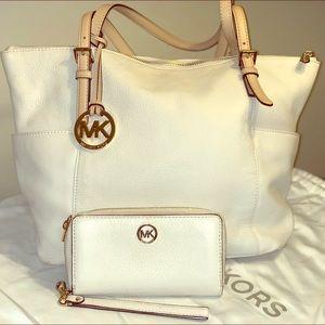 Michael Kors cream tote bag